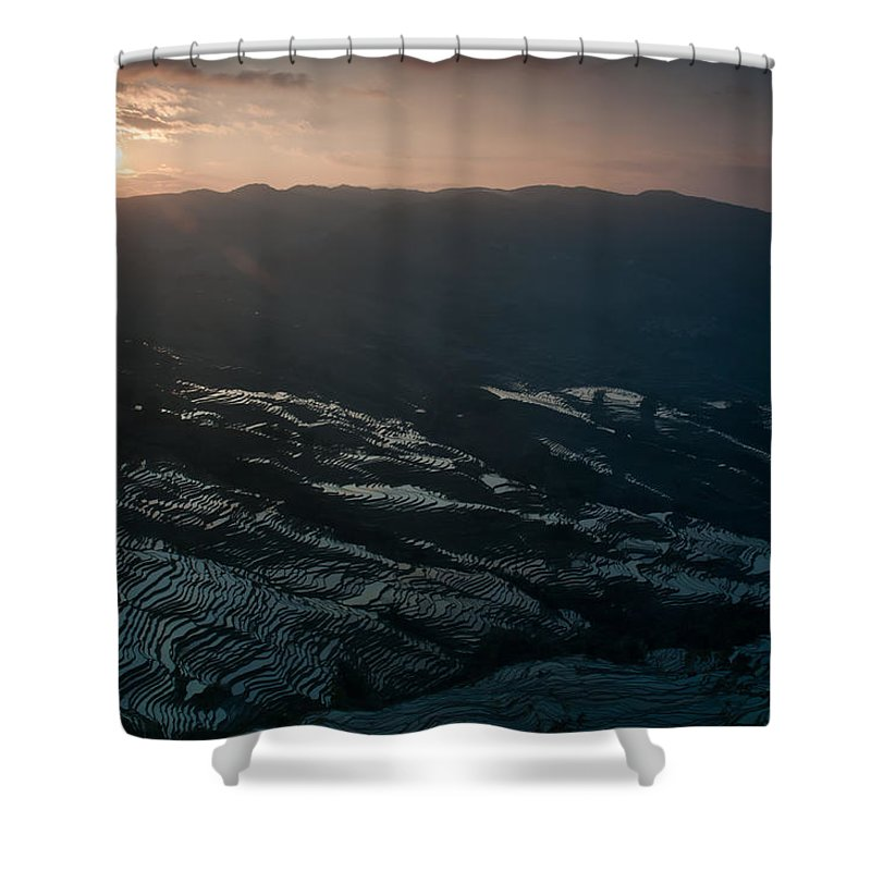 Agriculture Shower Curtain featuring the photograph Sunset And Rice Terrace by Kim Pin Tan