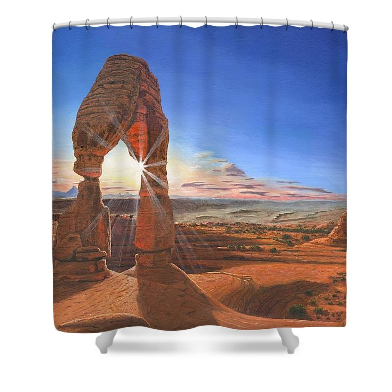 Delicate Arch Shower Curtain featuring the painting Sunset At Delicate Arch Utah by Richard Harpum