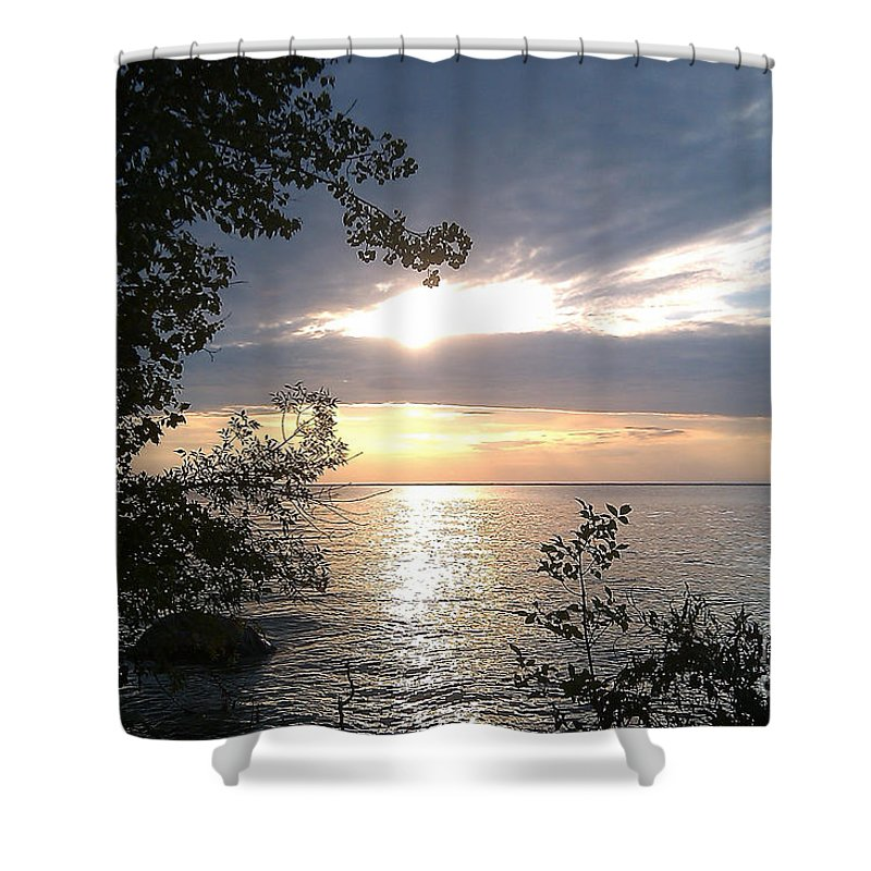 Water Shower Curtain featuring the photograph Sunset At Lake Winnipeg by Mary Mikawoz
