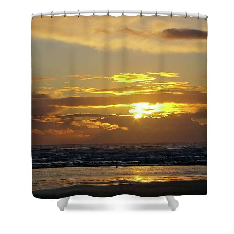 Ocean Shower Curtain featuring the photograph Sunset At Westport by Jeff Swan