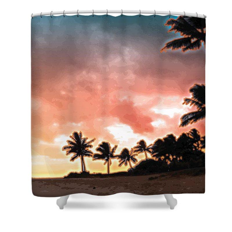 Abstract Shower Curtain featuring the digital art Sunset Beach by James Kramer