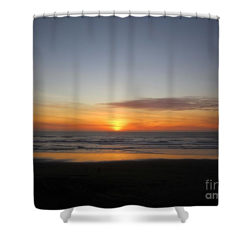 Sun Shower Curtain featuring the photograph Sunset Beach by Nancy Worrell