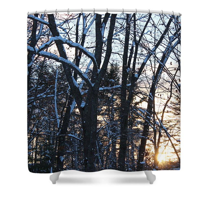 Sunset Trees Snow Nature Winter Shower Curtain featuring the photograph Sunset Behind The Trees by Coralynn Gutierrez