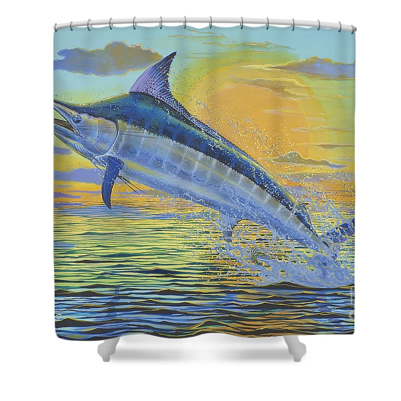 Blue Marlin Shower Curtain featuring the painting Sunset Blue Off0085 by Carey Chen