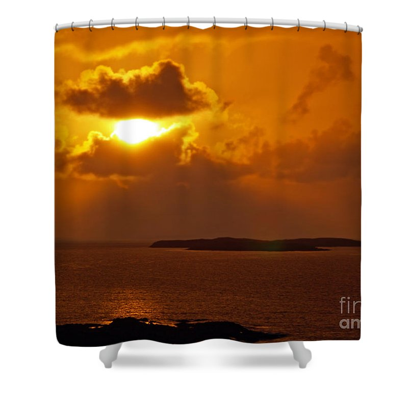 Fine Art Photography Shower Curtain featuring the photograph Sunset From The Dolphin Watch Cottage by Patricia Griffin Brett