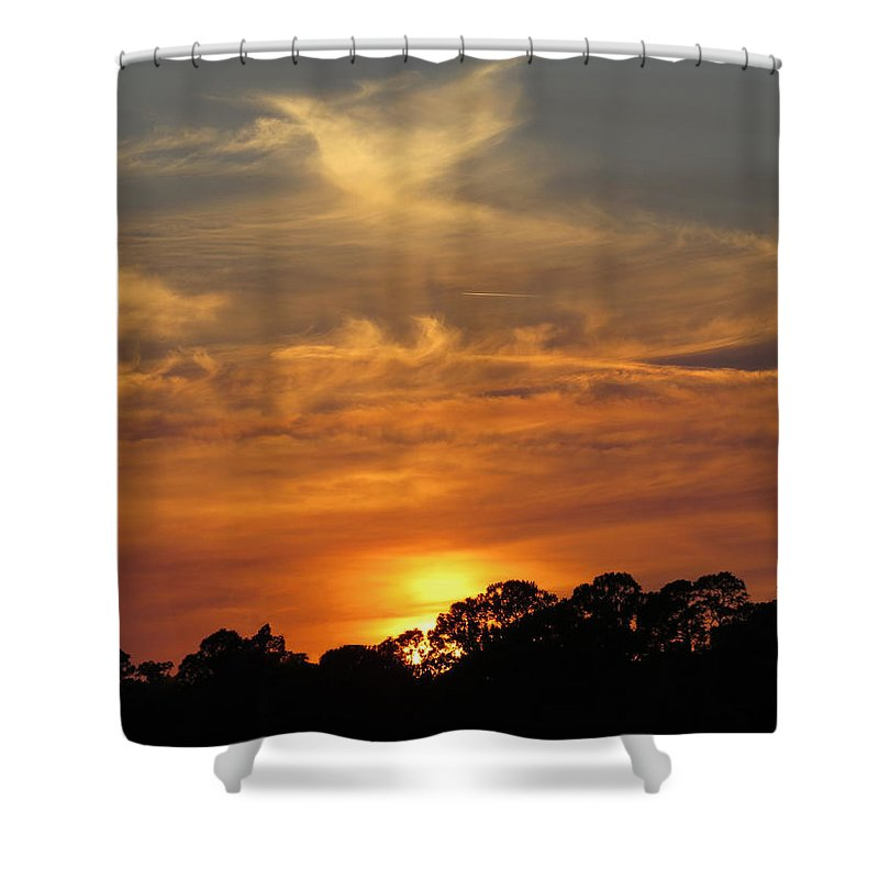 Sunset Shower Curtain featuring the photograph sunset II by Zina Stromberg
