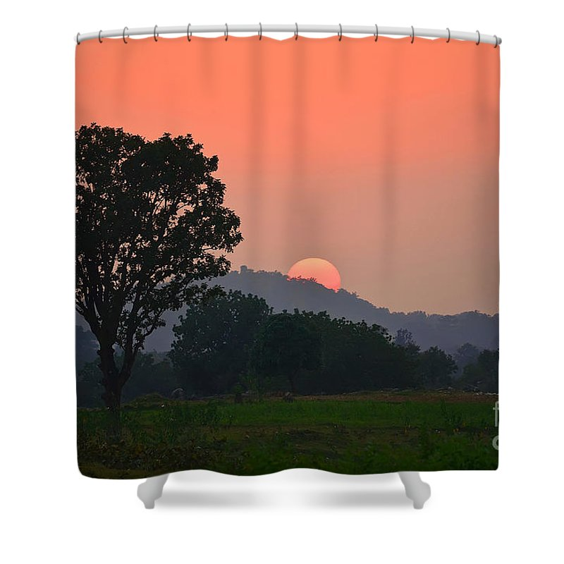 Sunset Shower Curtain featuring the photograph Sunset In Countryside by Image World