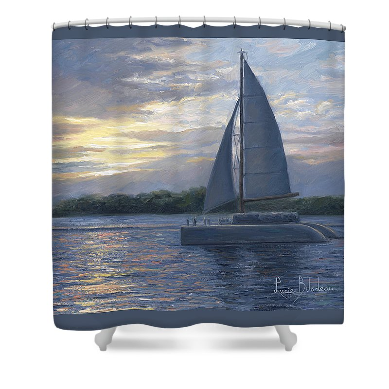 Sailboat Shower Curtain featuring the painting Sunset In Key West by Lucie Bilodeau