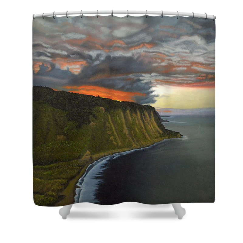 Waipio Lookout Shower Curtain featuring the painting Sunset In Paradise by Thu Nguyen