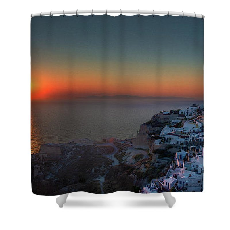 Tranquility Shower Curtain featuring the photograph Sunset In Santorini, Greece by Ed Freeman