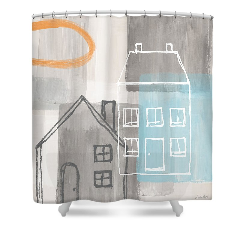 Houses Shower Curtain featuring the painting Sunset In The City by Linda Woods