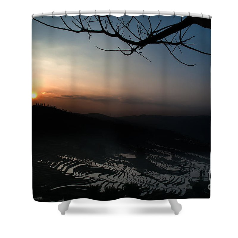 Agriculture Shower Curtain featuring the photograph Sunset by Kim Pin Tan