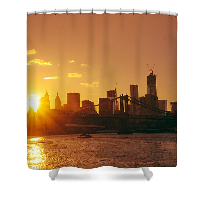 Nyc Shower Curtain Featuring The Photograph Sunset