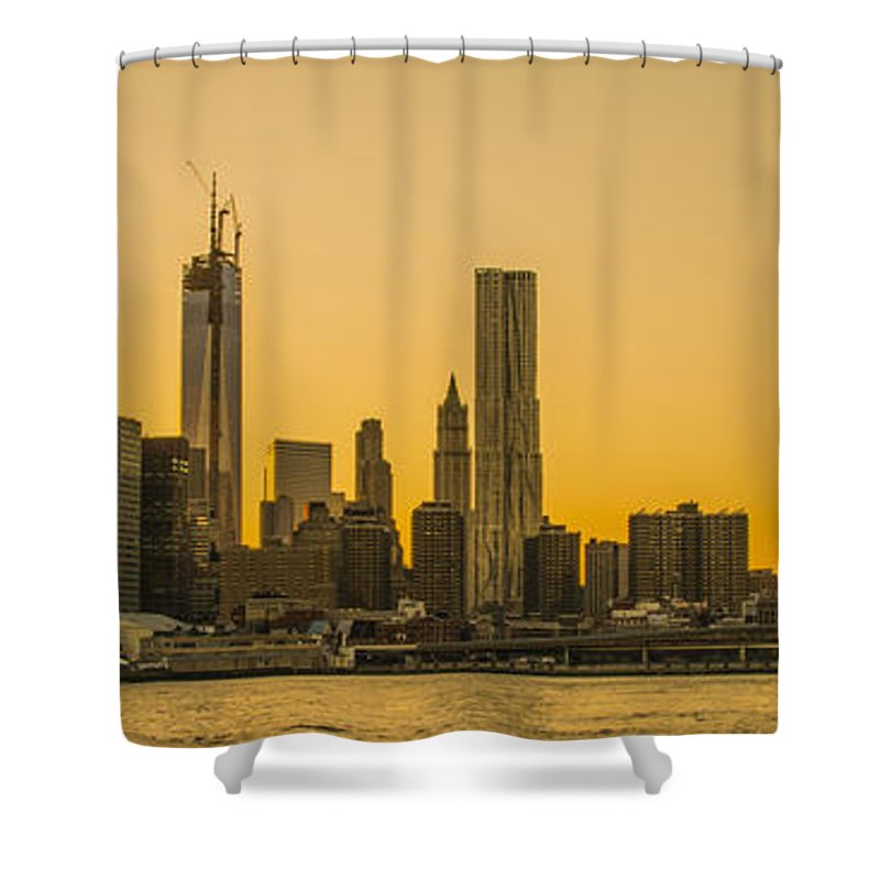 Freedom Tower Shower Curtain featuring the photograph Sunset Ny by Theodore Jones