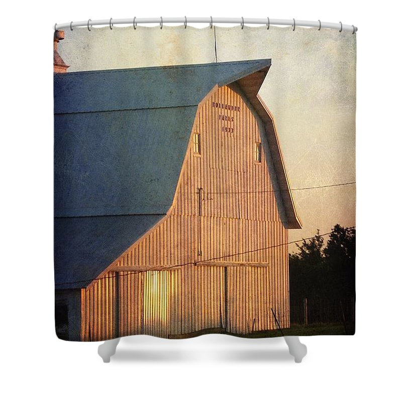 Sunset On A Barn Shower Curtain For Sale By Cassie Peters