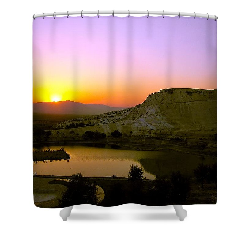 Sunset Shower Curtain featuring the photograph Sunset On Cotton Castles by Zafer Gurel