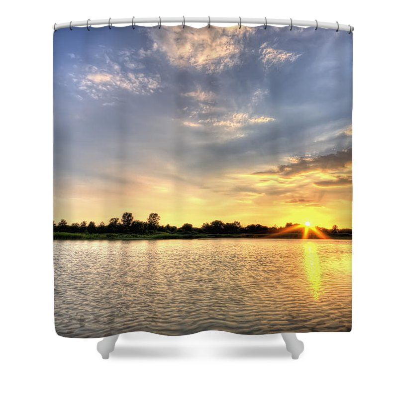 Hdr Shower Curtain featuring the photograph Sunset On The Pond by Scott Wood