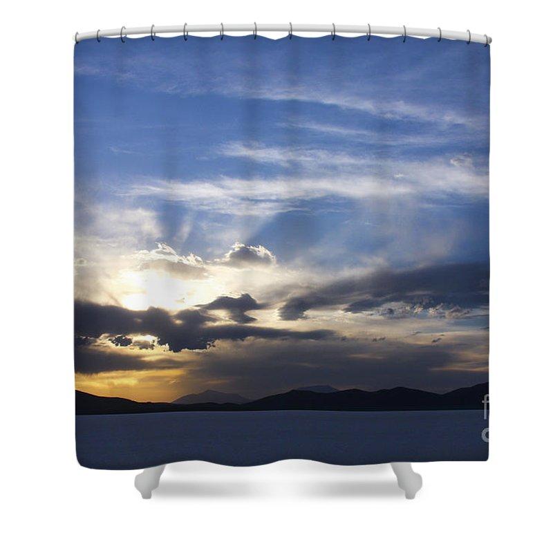Sunset Shower Curtain featuring the photograph Sunset On Uyuni Salt Flats by Christina Gupfinger
