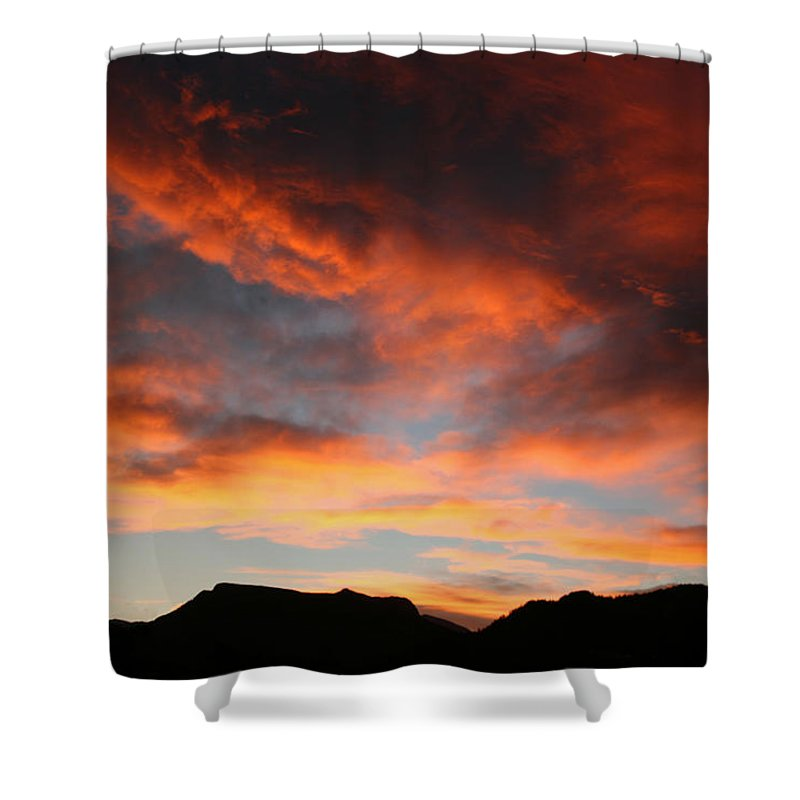 Sunset Shower Curtain featuring the photograph Sunset Over Estes Park by Angie Schutt