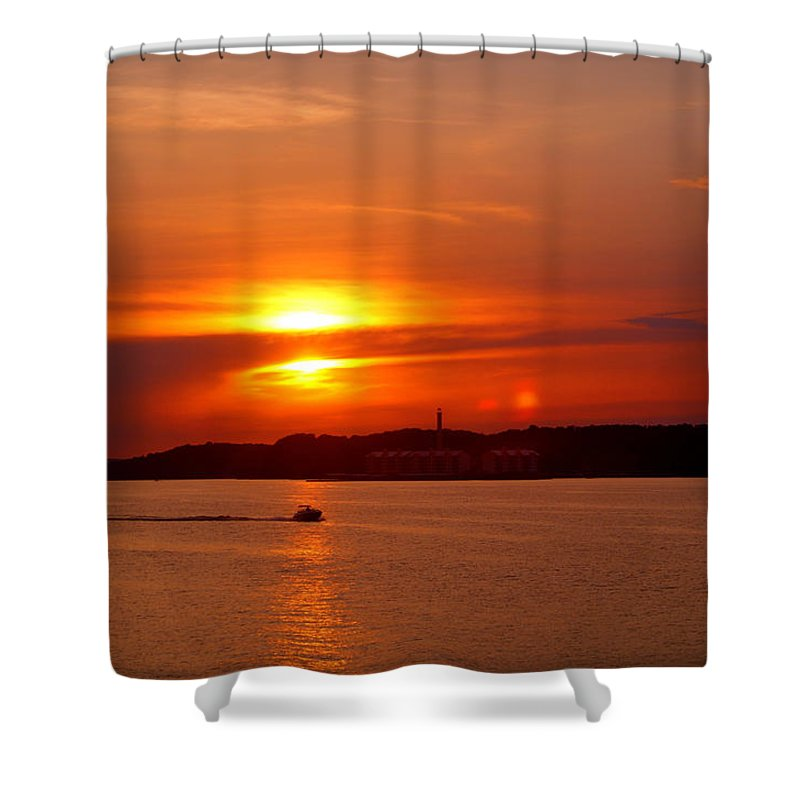 Sunset Shower Curtain featuring the photograph Sunset Over Lake Ozark by Cricket Hackmann
