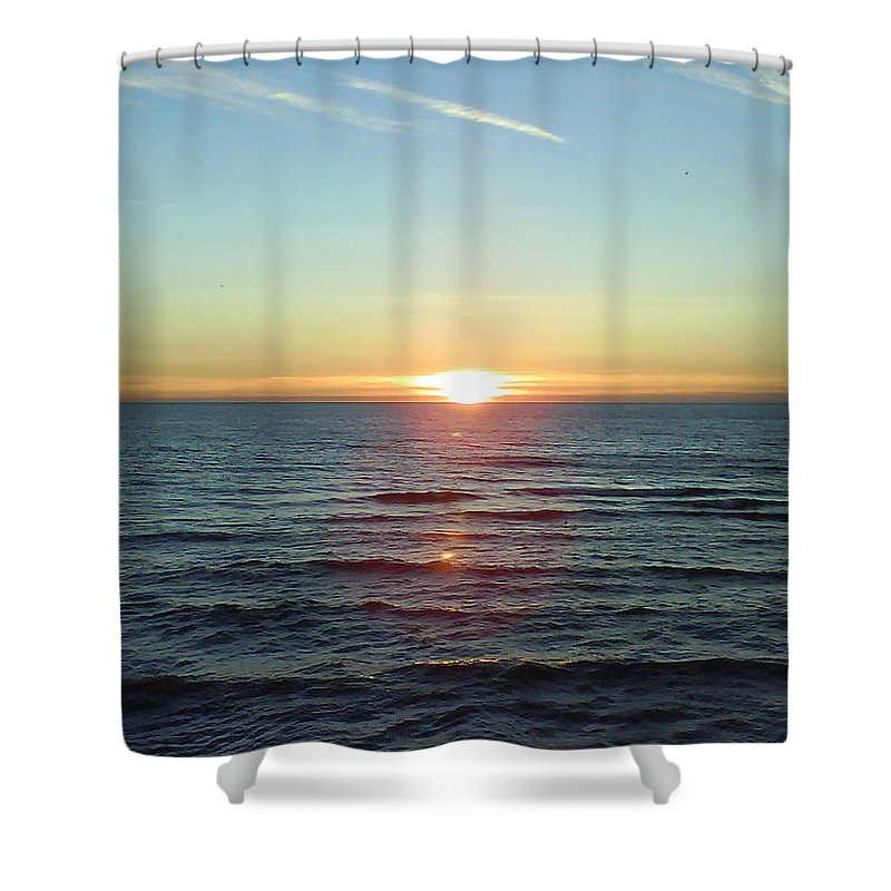 Sunset Over Sea Shower Curtain featuring the photograph Sunset Over Sea by Gordon Auld