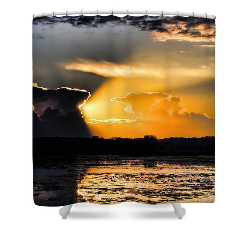 Sunset Shower Curtain featuring the photograph Sunset Over The Mead Wildlife Area by Dale Kauzlaric