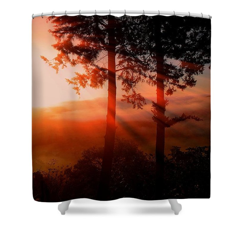 Sunset Digital Art Paintings Shower Curtain featuring the photograph Sunset Over The Valley by Nikki Keep