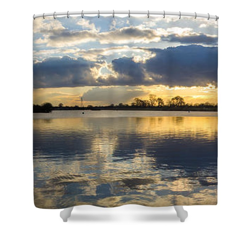 Sunset Shower Curtain featuring the photograph Sunset Over The Water by Mark Burn