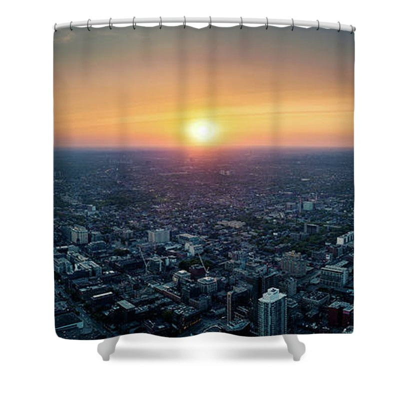 Downtown District Shower Curtain featuring the photograph Sunset Over Toronto Downtown City by D3sign