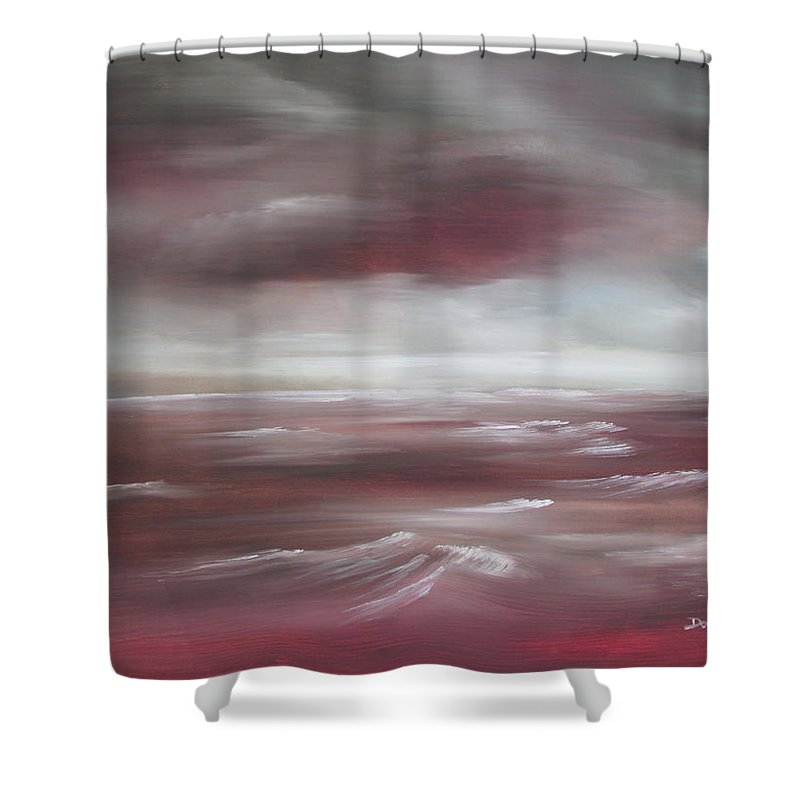 Sunset Shower Curtain featuring the painting Sunset Sea by Dawn Nickel