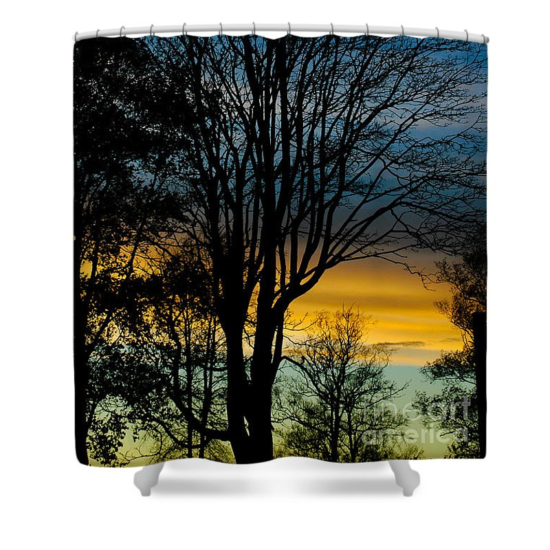 Clouds Shower Curtain featuring the photograph Sunset Silhouette by Venetta Archer