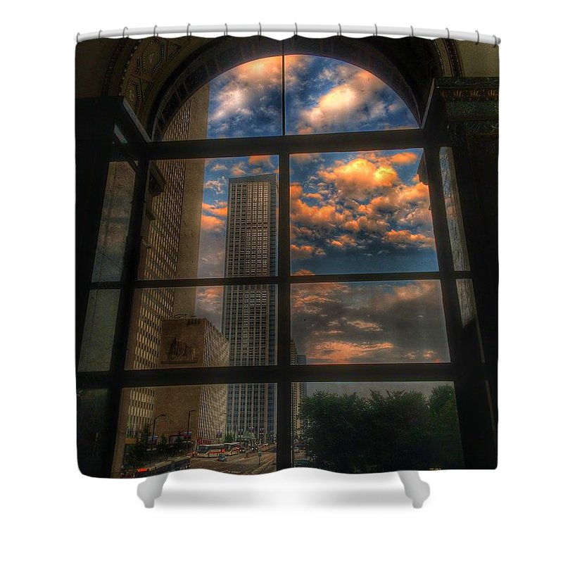 Chicago Shower Curtain featuring the photograph Sunset View of Chicago by Nick Heap