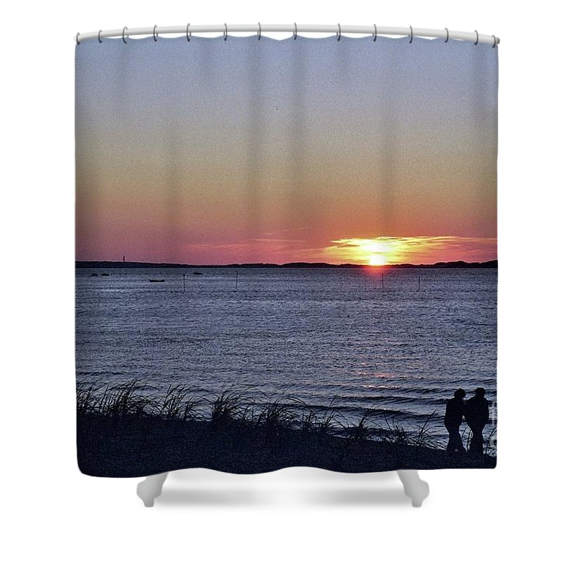 Sunset Walk Along The Beach Shower Curtain featuring the photograph Sunset Walk Along The Beach by Allen Beatty