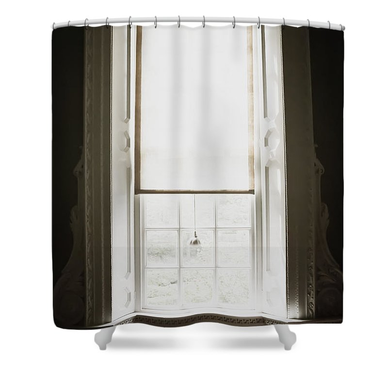 Window; Tassel; Blind; Drape; Curtain; Close; Closed; Fringe; Fabric; Glass; Pane; House; Home; View; See Through; Country; Detail; Trees; White; Bright; Looking Out; Indoors; Inside; Trim; Alcove; Ornate; Sun; Sunny; Sunshine; Shade Shower Curtain featuring the photograph Sunshine by Margie Hurwich