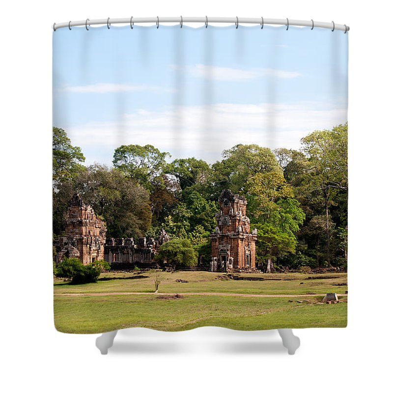 Suor Shower Curtain featuring the photograph Suor Prat Towers 01 by Rick Piper Photography
