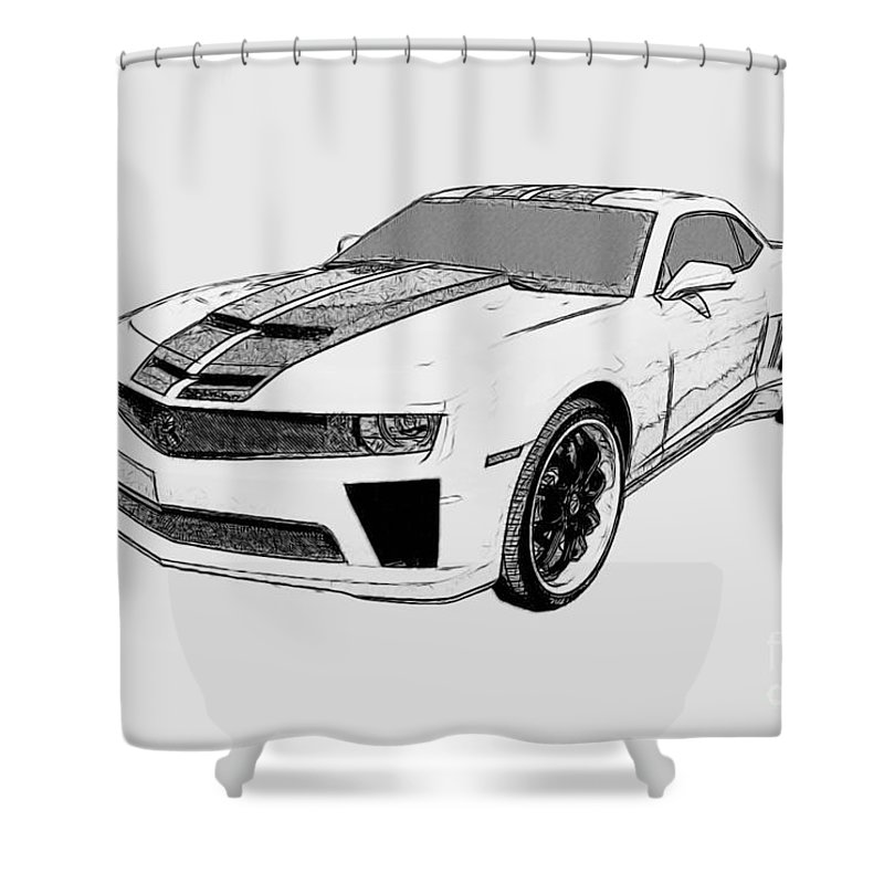 Camaro Shower Curtain featuring the digital art Super Bee Camaro by Tommy Anderson