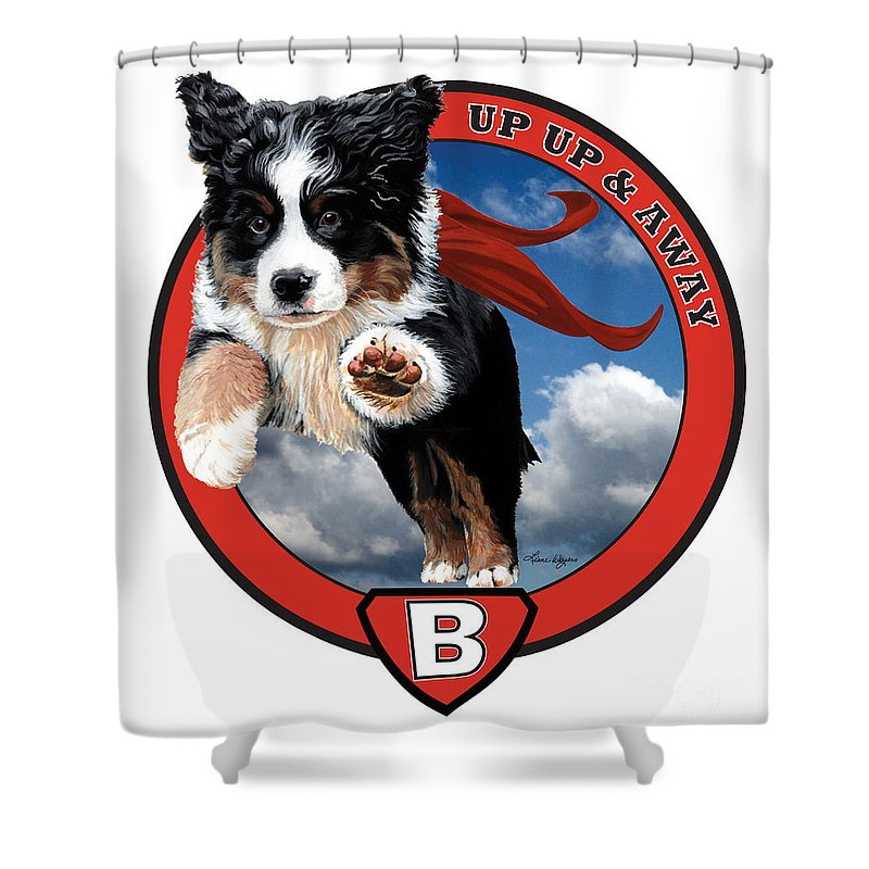 Bernese Mountain Dog Berner Pup Puppy Flying Sky Up Up And Away Red Super Cape B Is For Berner Love Happy Playing Liane Weyers Artist Painting Art Love Shower Curtain featuring the painting Super Berner by Liane Weyers