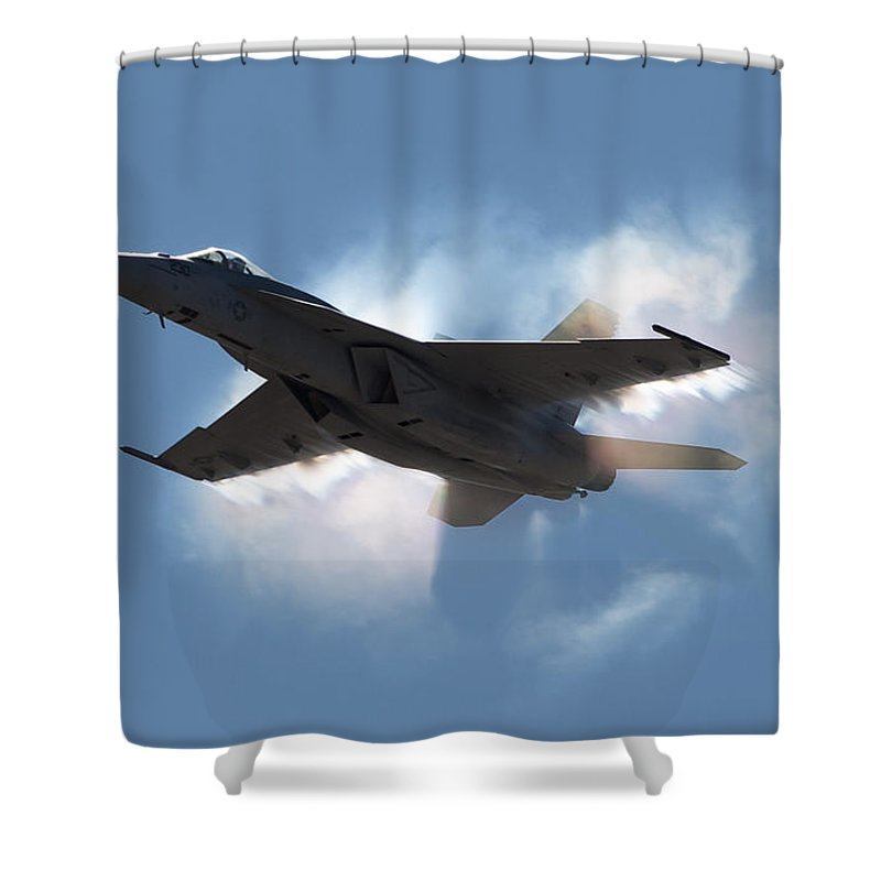 Shockwave Shower Curtain featuring the photograph Super Hornet Shockwave by John Daly