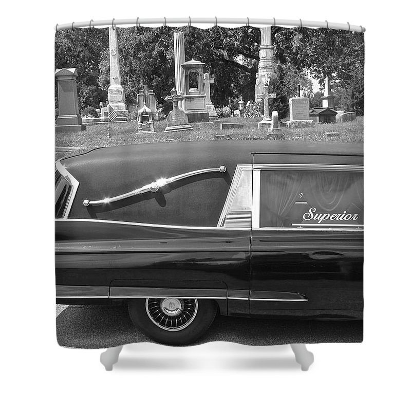 Superior Hearse Laurel Hill Cemetary Philadelphia Pa Car Show Black White Shower Curtain featuring the photograph Superior by Alice Gipson
