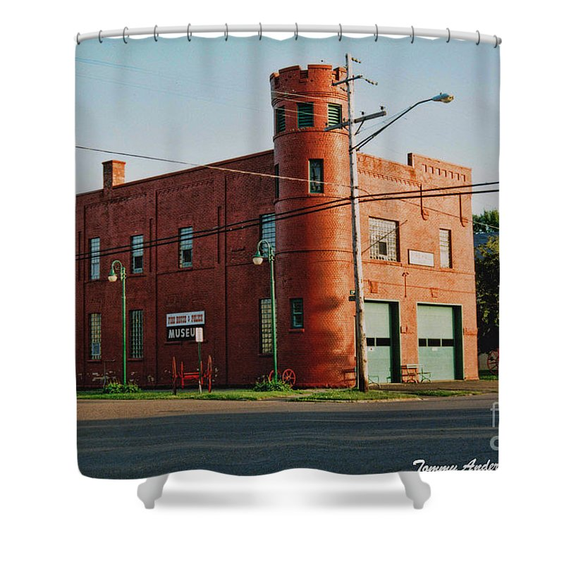 Superior Shower Curtain featuring the photograph Superior Fire House by Tommy Anderson