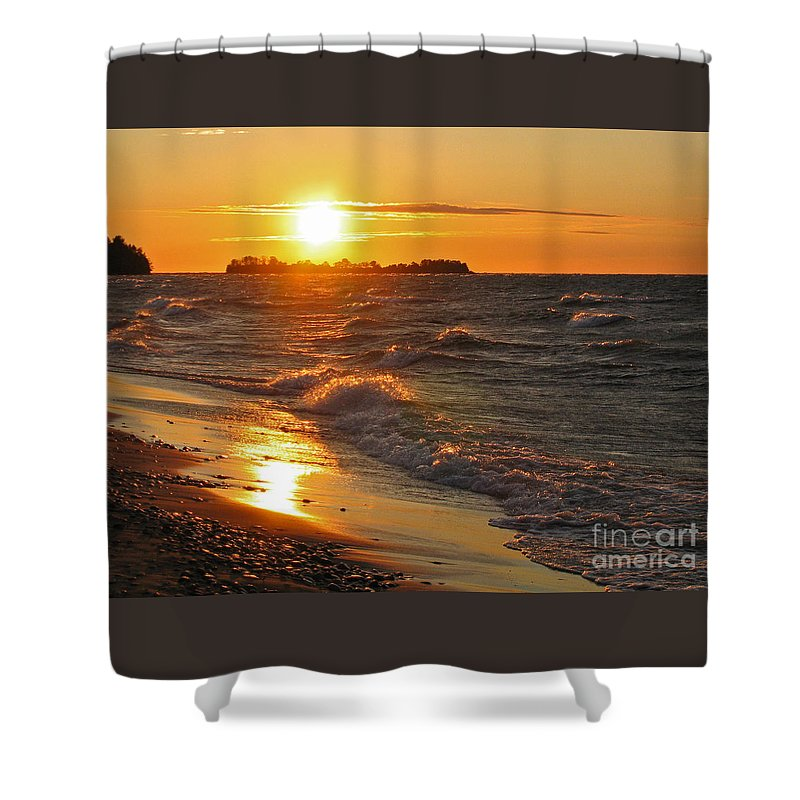 Sunset Shower Curtain featuring the photograph Superior Sunset by Ann Horn