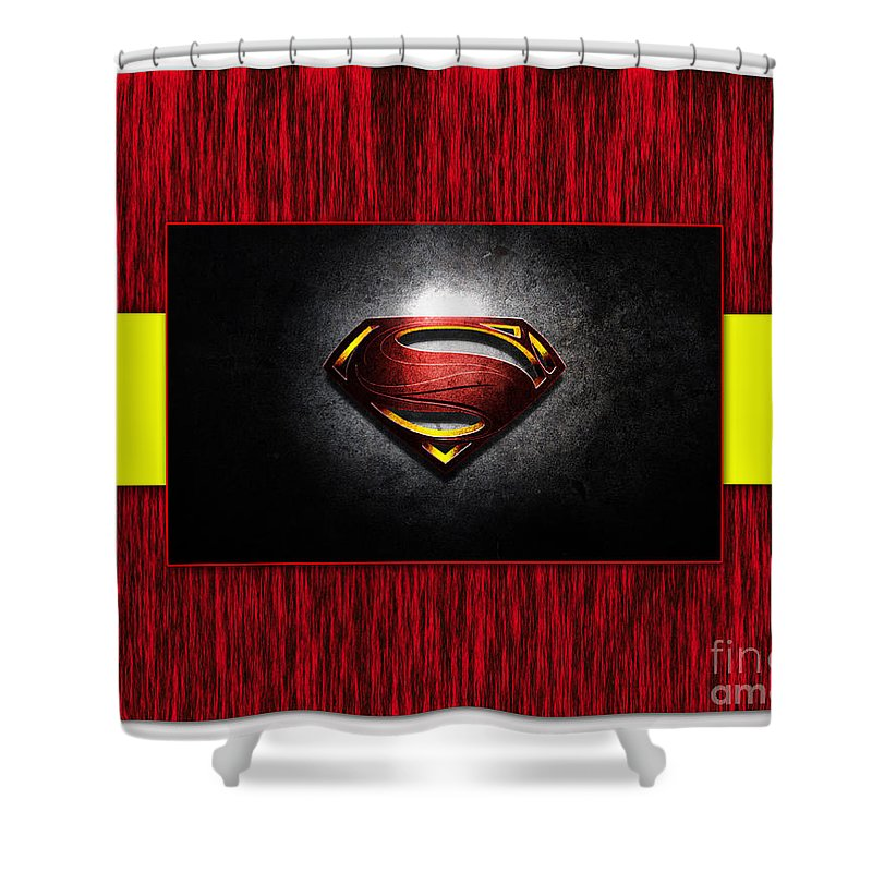 Superman Art Shower Curtain Featuring The Mixed Media By Marvin Blaine