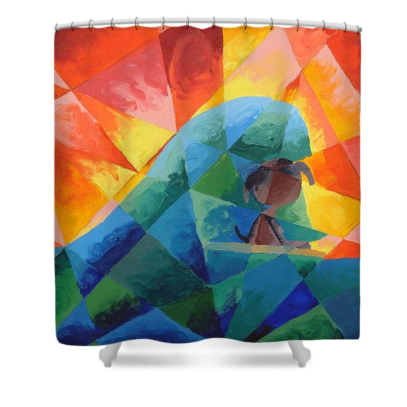 Surfing Shower Curtain featuring the painting Surf Dog by Lola Connelly