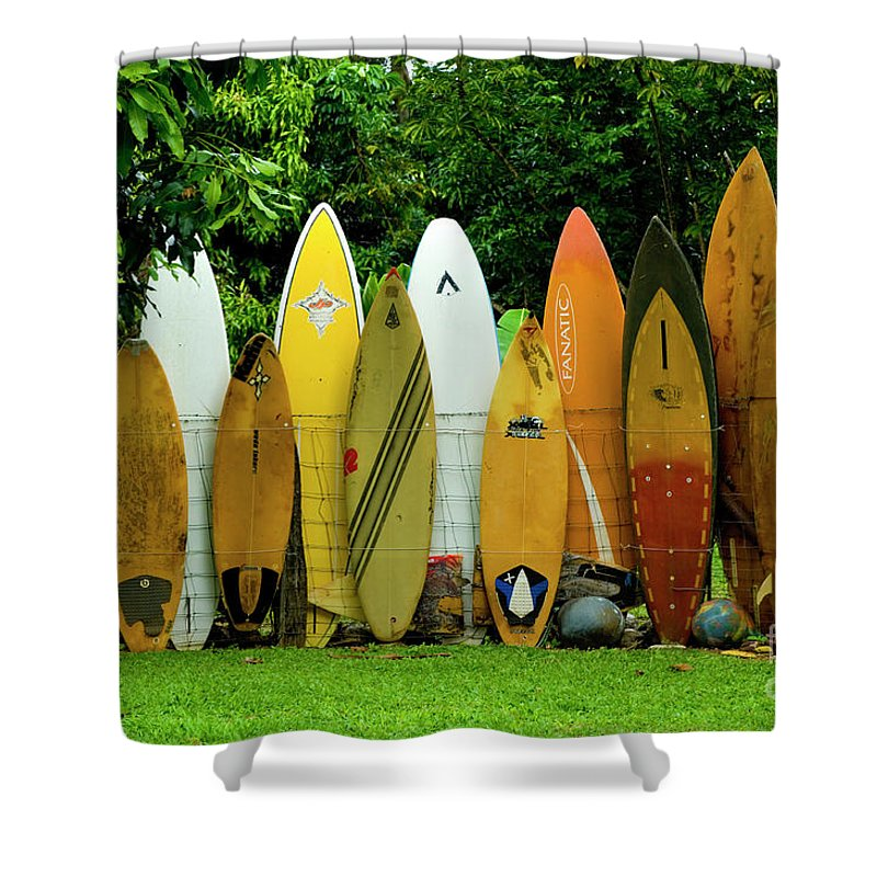 Surf Board Shower Curtain featuring the photograph Surfboard Fence Maui by Bob Christopher