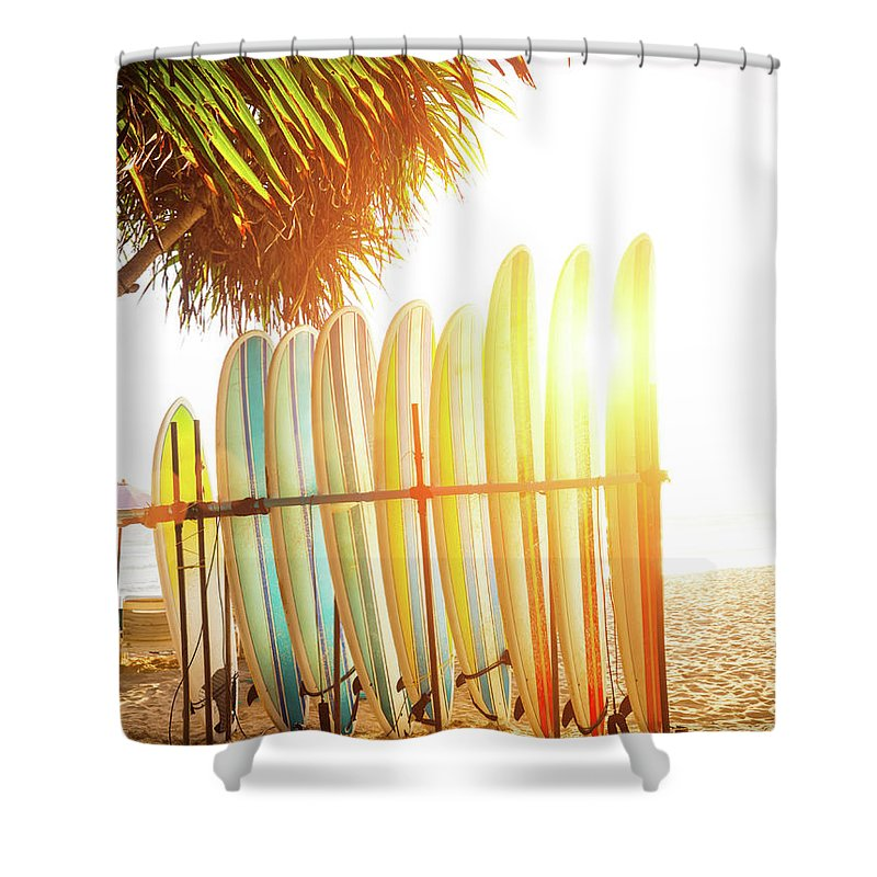 Recreational Pursuit Shower Curtain featuring the photograph Surfboards At Ocean Beach by Arand