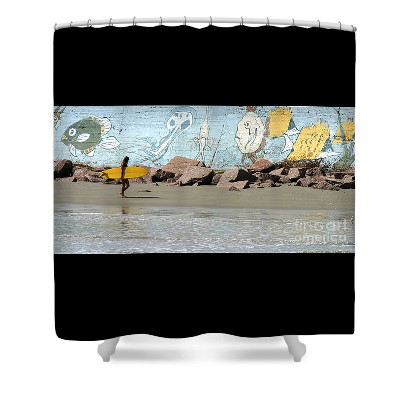 Gary Gingrich Shower Curtain featuring the photograph Surfer Beach 1034b by Gary Gingrich Galleries