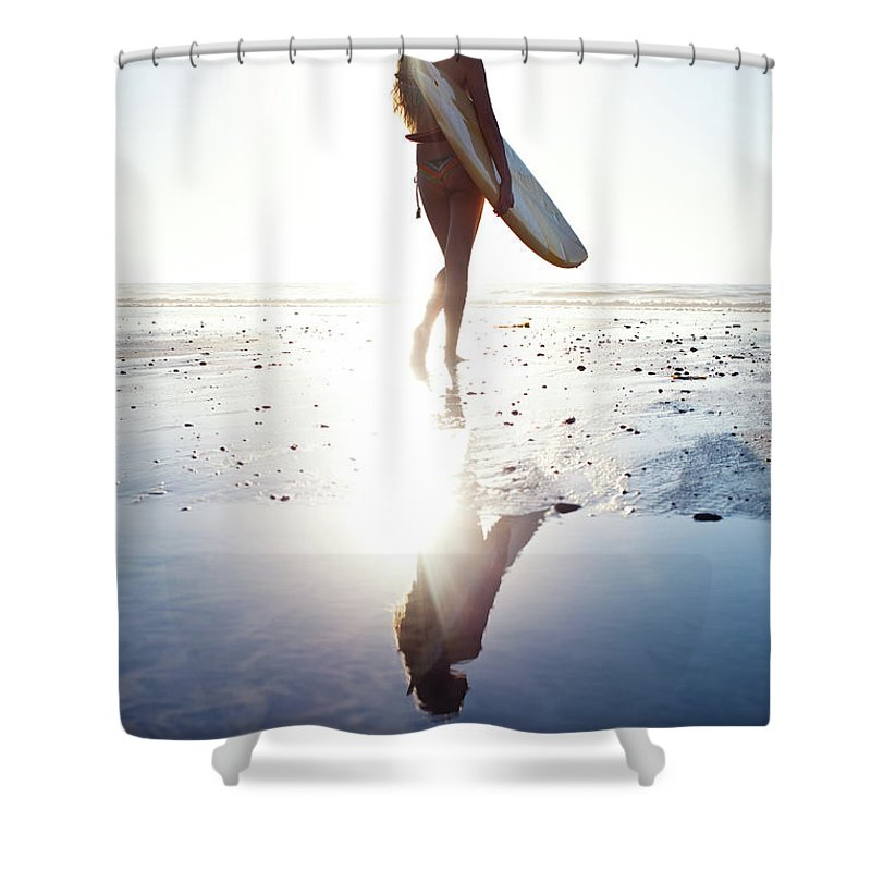Youth Culture Shower Curtain featuring the photograph Surfer Girl by Ianmcdonnell