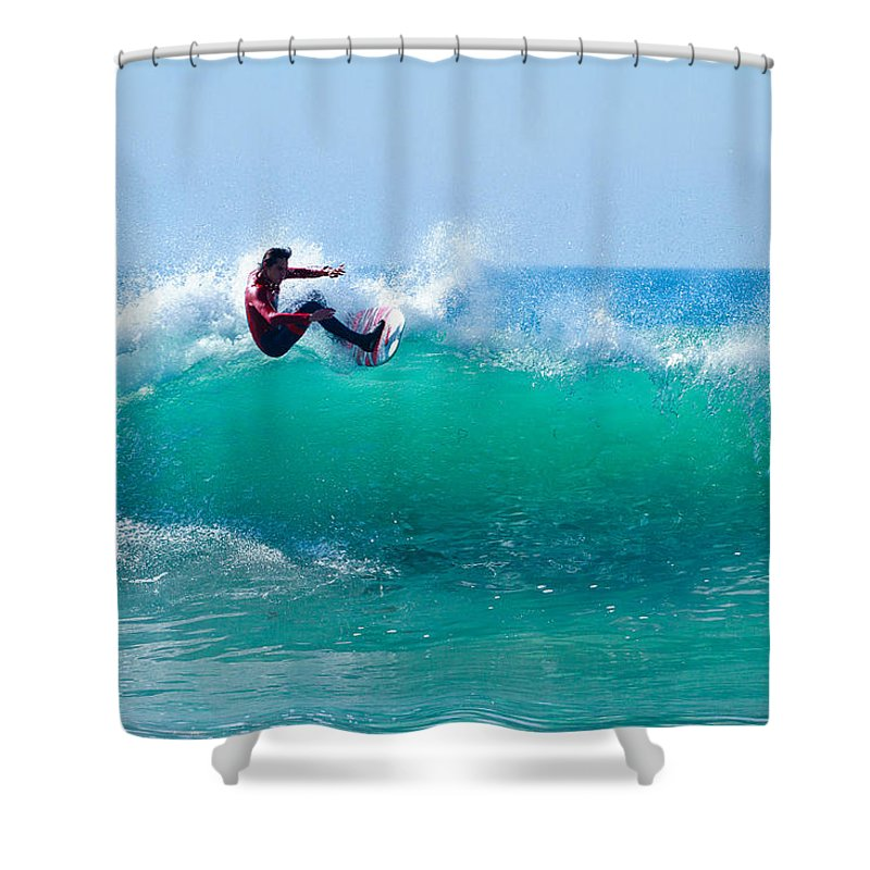 Surf Shower Curtain featuring the photograph Surfer Making Turn by Ben Graham