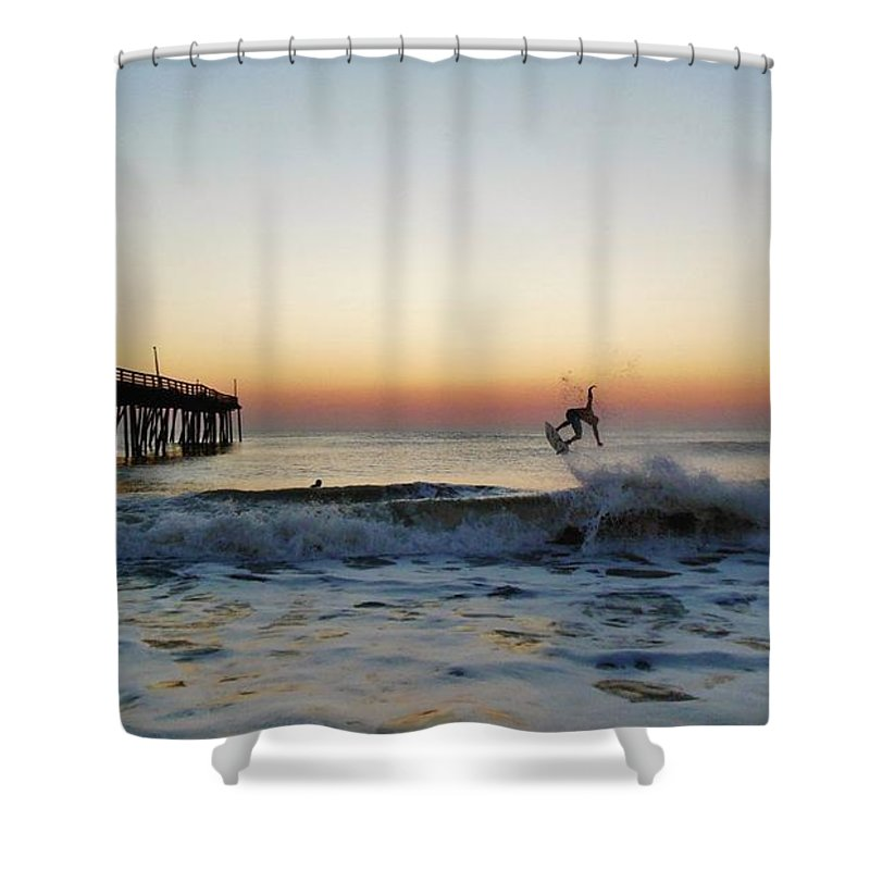 Mark Lemmon Cape Hatteras Nc The Outer Banks Photographer Subjects From Sunrise Shower Curtain featuring the photograph Surfer Sunrise 2 10/2 by Mark Lemmon