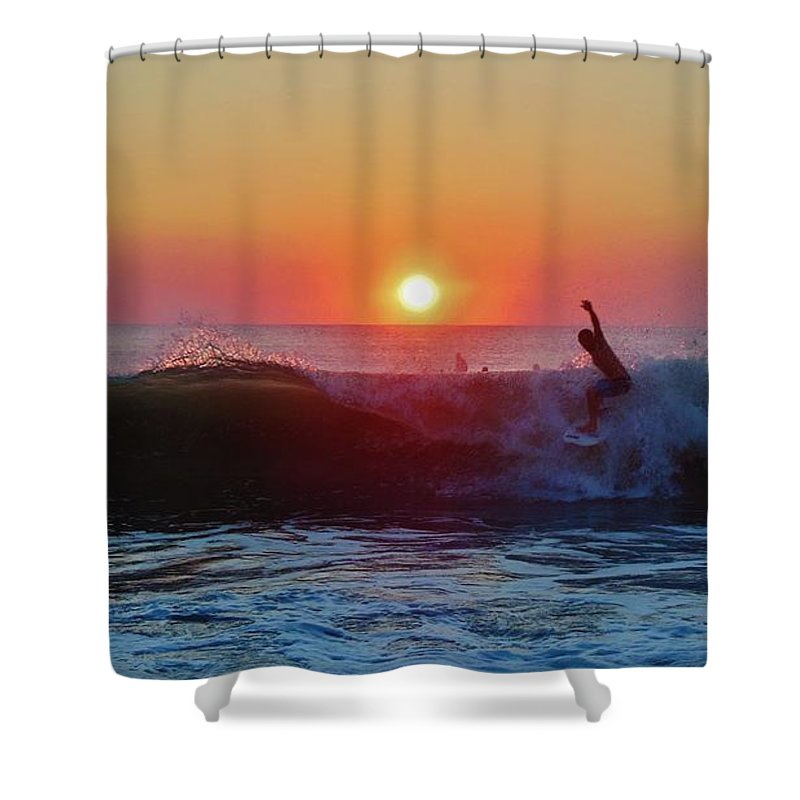 Mark Lemmon Cape Hatteras Nc The Outer Banks Photographer Subjects From Sunrise Shower Curtain featuring the photograph Surfer Sunrise 8 10/2 by Mark Lemmon